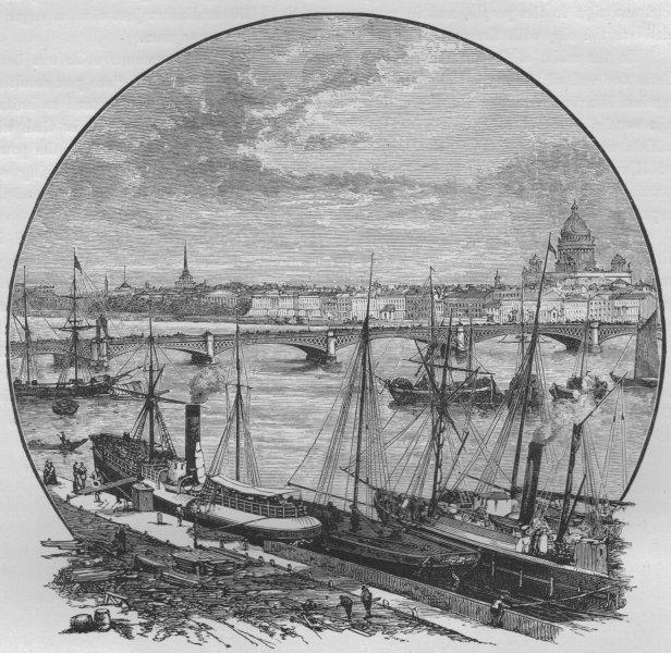 Associate Product ST PETERSBURG. The Nicolai Bridge across the Neva 1882 old antique print