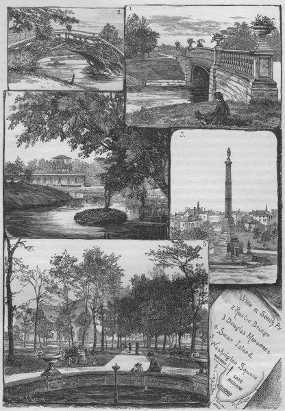Associate Product CHICAGO. South Park Rustic Bridge Douglas Mmnt Swan Island Washington Sq 1882