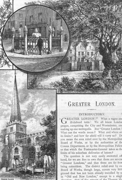 Associate Product LONDON. Coronation Stone, Kingston; High Beech; Harrow 1888 old antique print