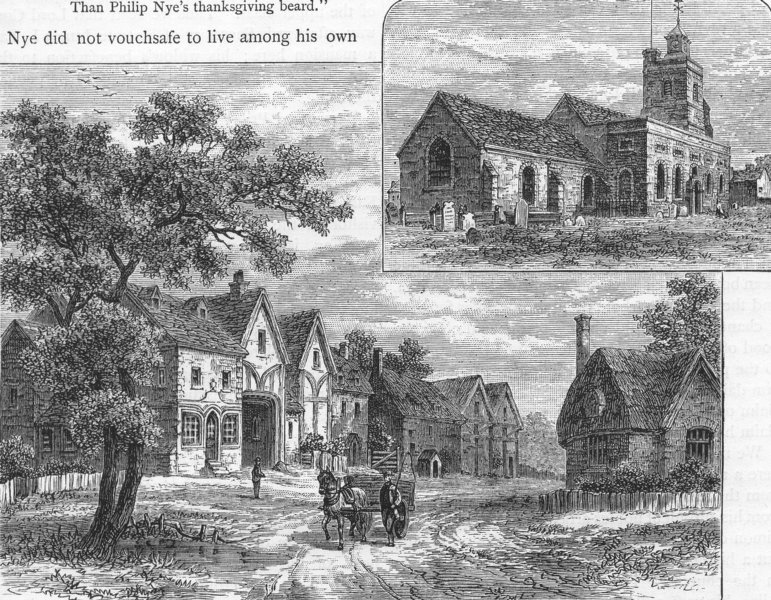 Associate Product ACTON. Acton Church and Acton town c1800 1888 old antique print picture