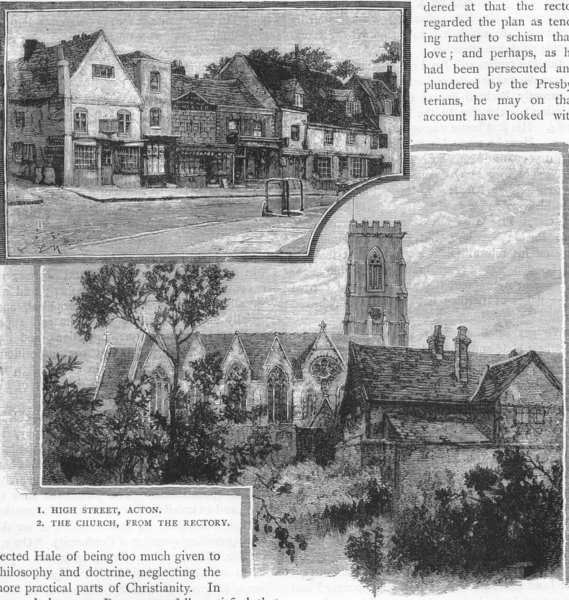Associate Product ACTON. High Street, Acton; The Church, from the Rectory 1888 old antique print