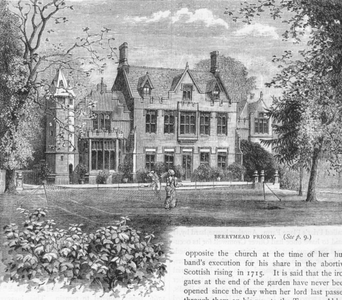 Associate Product ACTON. Berrymead Priory 1888 old antique vintage print picture