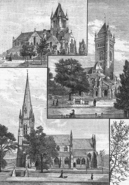 Associate Product EALING CHURCHES. St John's; St Mary's parish church; Christ Church 1888 print