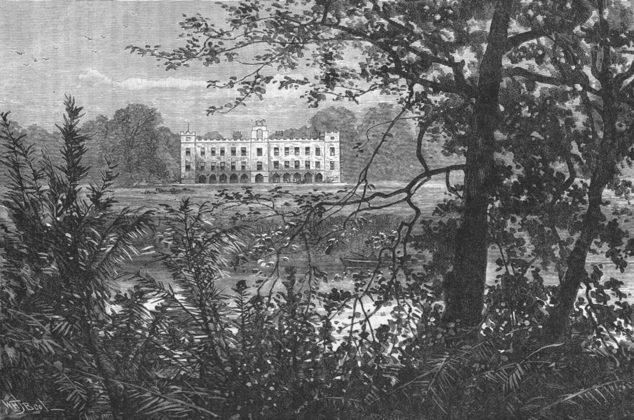 Associate Product SYON HOUSE. Syon House, from the South 1888 old antique vintage print picture