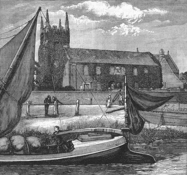 Associate Product ISLEWORTH. Isleworth Church 1888 old antique vintage print picture