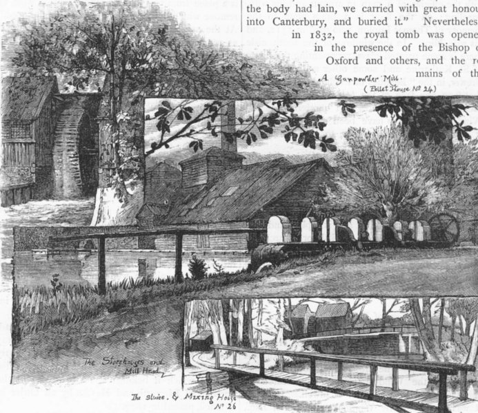Details about  HOUNSLOW. The Powder Mills. Pellet House; Gunpowder mill 1888 old print