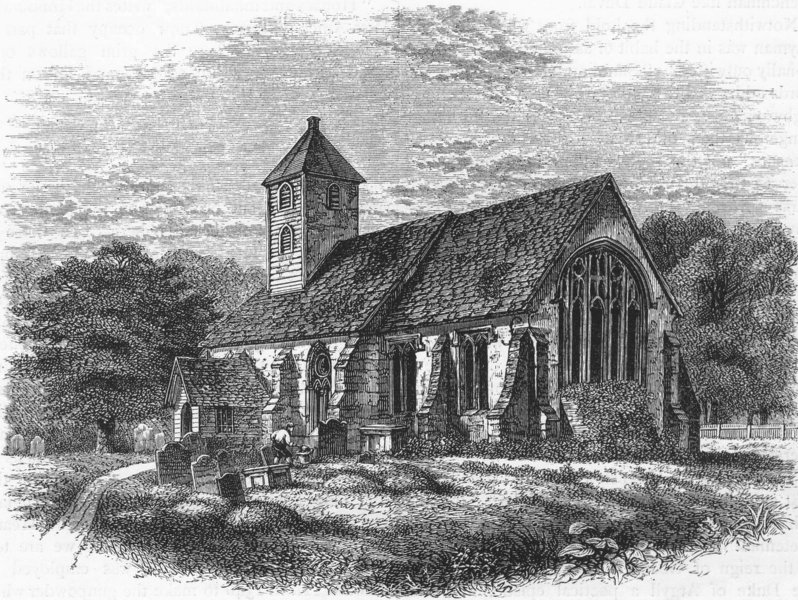 Associate Product HANWORTH. Old Hanworth Church 1888 antique vintage print picture