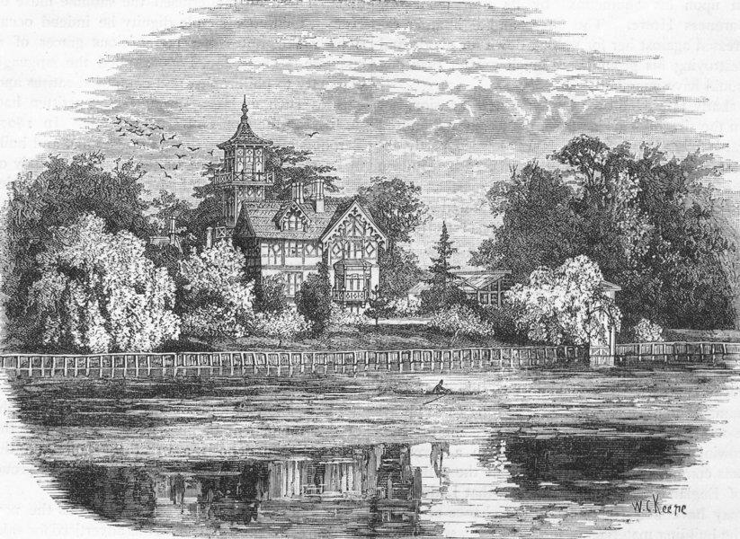 "Associate Product TWICKENHAM. ""Pope's Villa"" 1888 old antique vintage print picture"