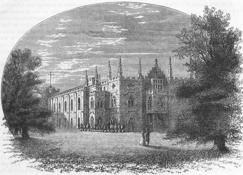 TWICKENHAM. Strawberry Hill in Walpole's Time (Sandby) 1888 old antique print