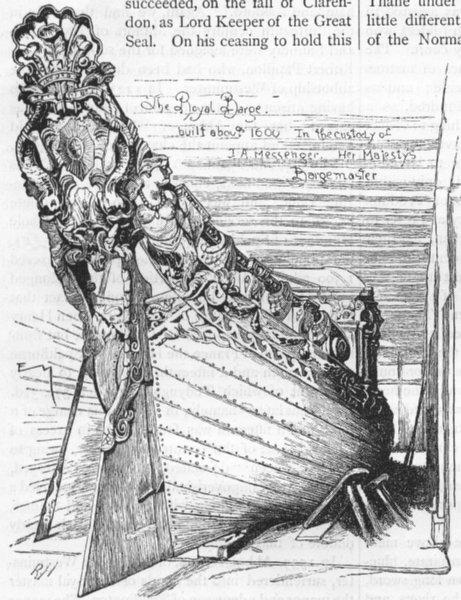 Associate Product TEDDINGTON AND BUSHEY PARK. The Queen's Barge 1888 old antique print picture