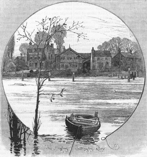 Associate Product TEDDINGTON AND BUSHEY PARK. The Anglers, Teddington Ferry 1888 old print