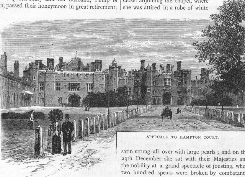 Associate Product HAMPTON COURT PALACE. Approach to Hampton Court 1888 old antique print picture