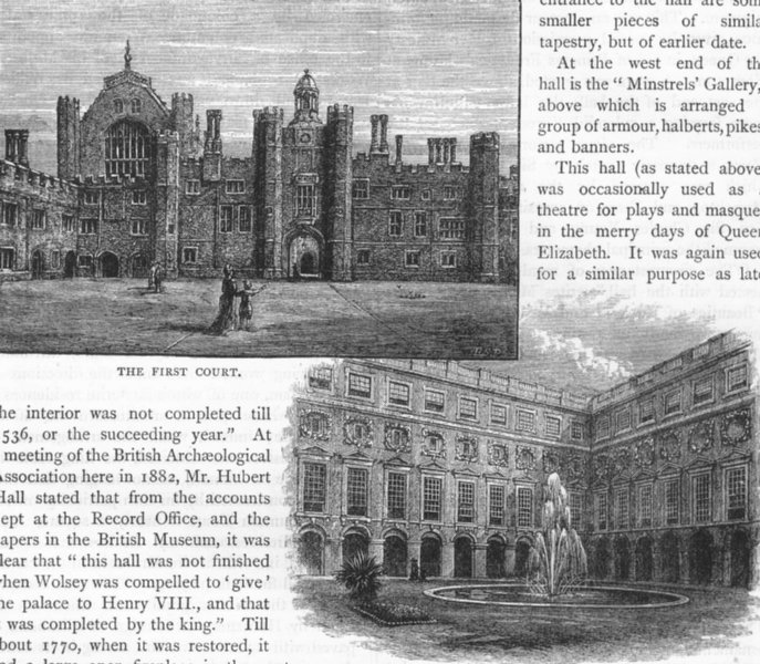 Associate Product HAMPTON COURT PALACE . The First Court; Fountain Court 1888 old antique print