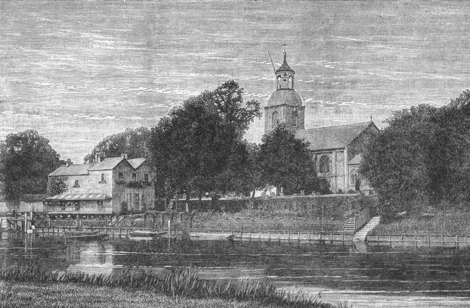 Associate Product SUNBURY. Sunbury Church. Surrey 1888 old antique vintage print picture