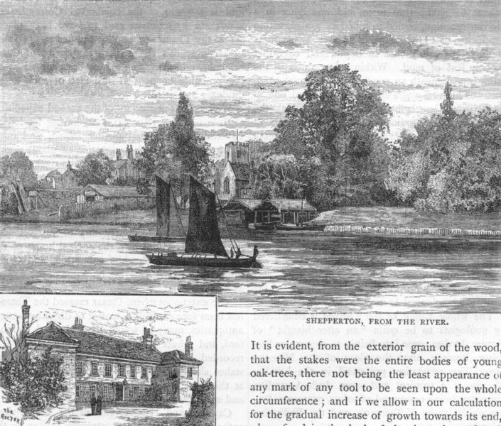 Associate Product SHEPPERTON. Shepperton, from the river; Shepperton Rectory 1888 old print