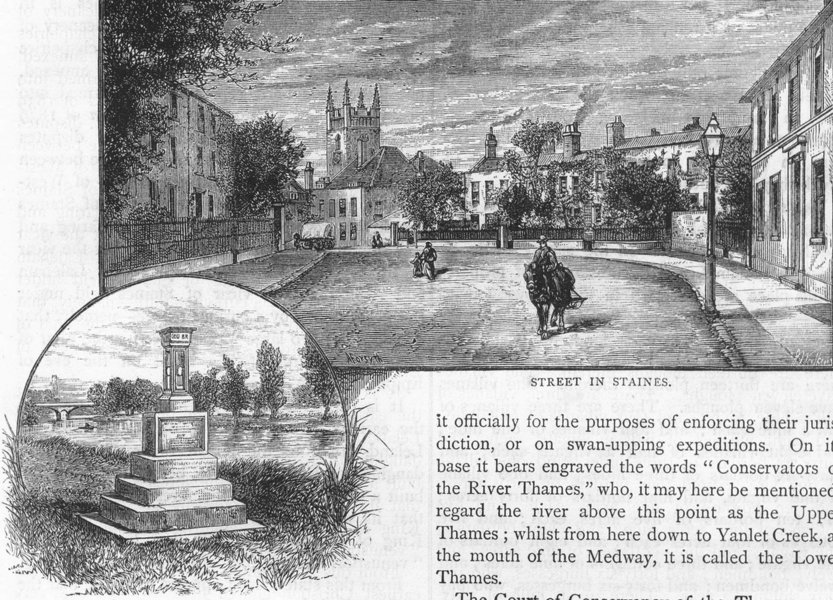 Associate Product STAINES. Street in Staines; The city Boundary Stone. Surrey 1888 old print