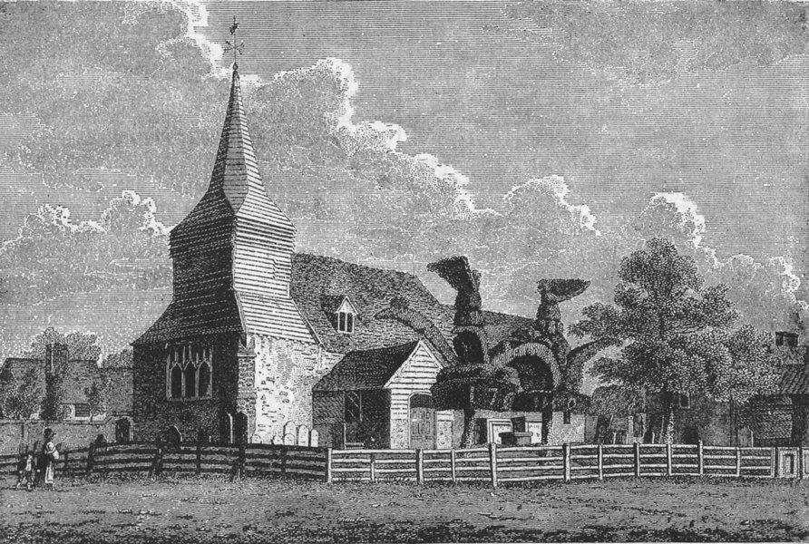 Associate Product BEDFONT. Bedfont Church 1888 old antique vintage print picture
