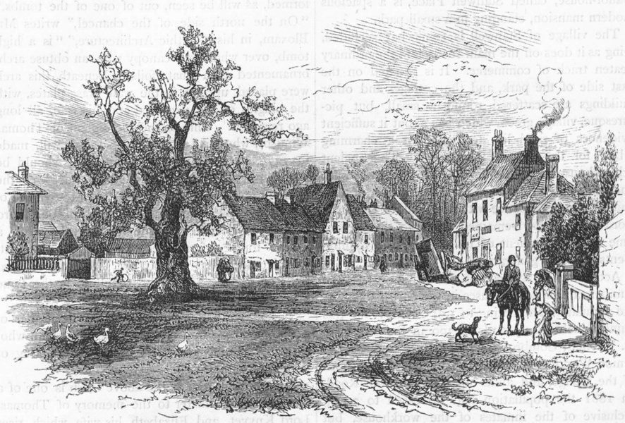 Associate Product SURREY. Stanwell village green 1888 old antique vintage print picture