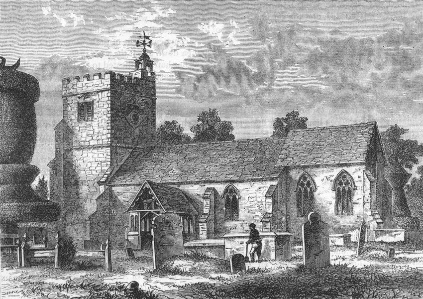 Associate Product HARLINGTON. Harlington Church 1888 old antique vintage print picture