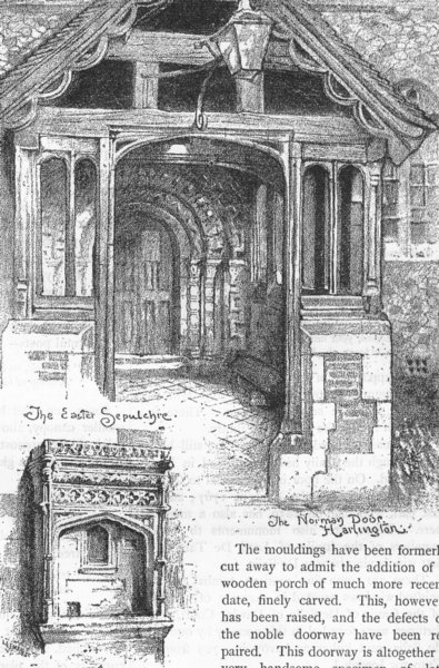 Associate Product HARLINGTON CHURCH. The Easter Sepulchre; The Norman door 1888 old print