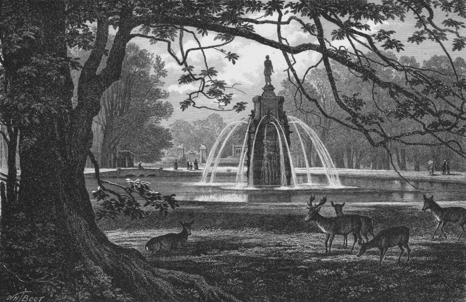 Associate Product HAMPTON COURT.The Diana Fountain, Bushey Park 1888 old antique print picture