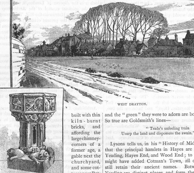 Associate Product WEST DRAYTON. View of West Drayton; Font in West Drayton Church 1888 old print