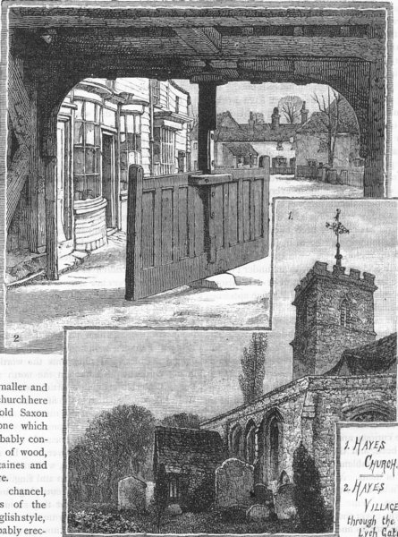 Associate Product HAYES. Hayes Church; Hayes Village through the Lych Gate 1888 old print