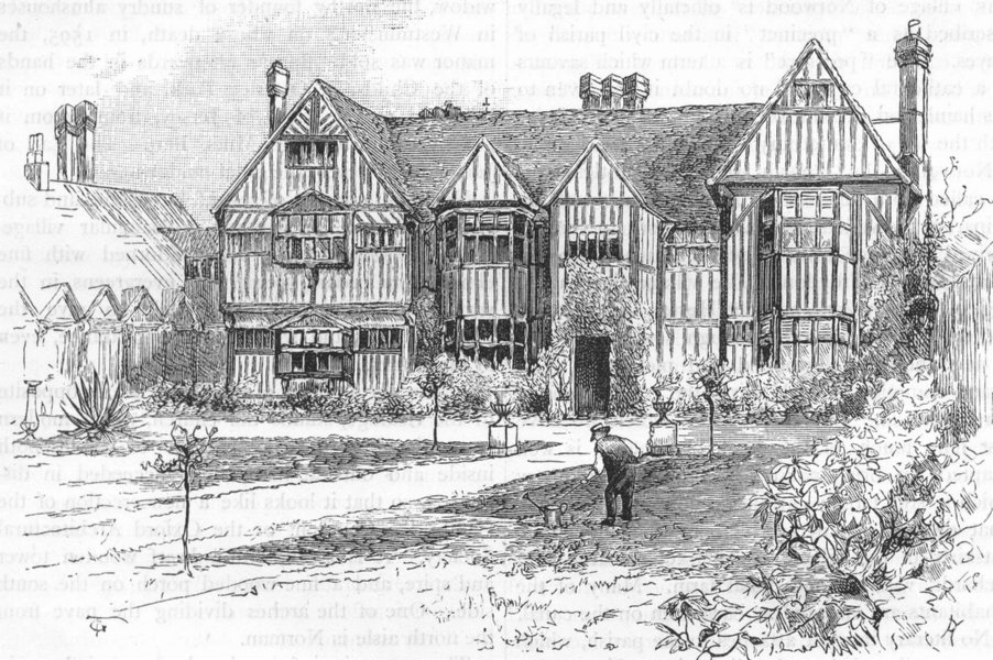 Associate Product LONDON. Southall Manor House 1888 old antique vintage print picture