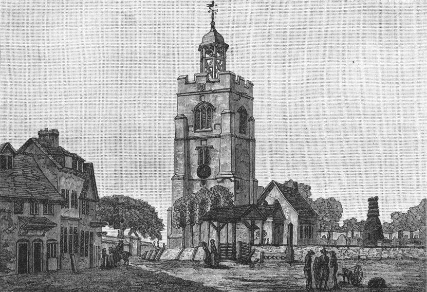 Associate Product HILLINGDON. Hillingdon Church about 1740 1888 old antique print picture