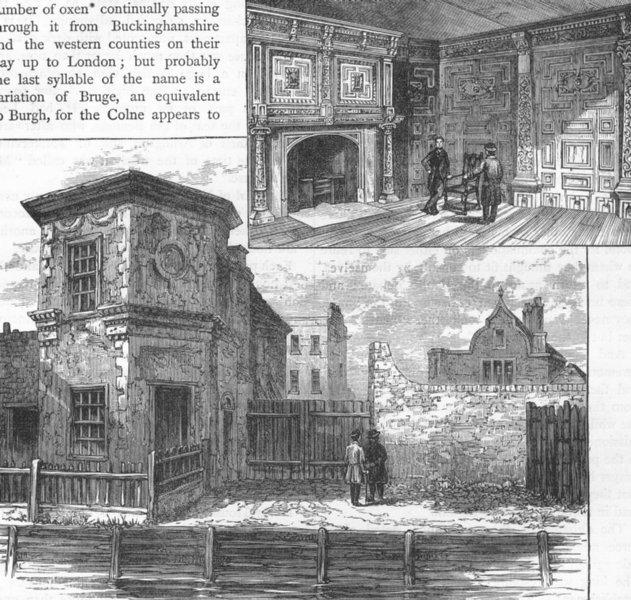 Associate Product UXBRIDGE. The Treaty House, Uxbridge. Middlesex 1888 old antique print picture