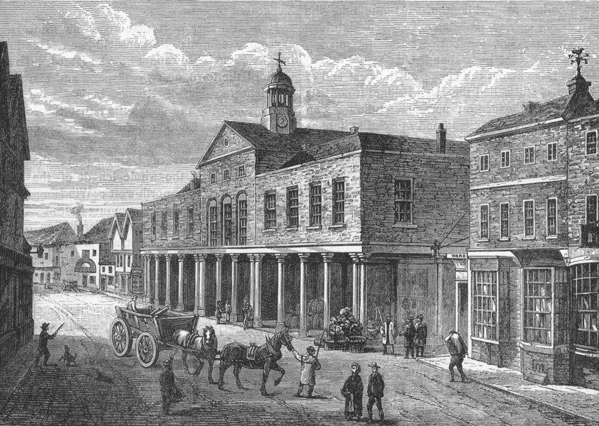 """Associate Product UXBRIDGE. Market House, Uxbridge (from the """"History of Uxbridge"""", 1818) 1888"""