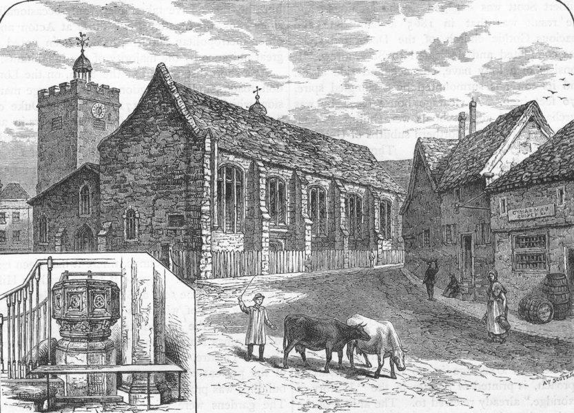 Associate Product UXBRIDGE. St. Margaret's church; The font (from an earlier 1818 print) 1888