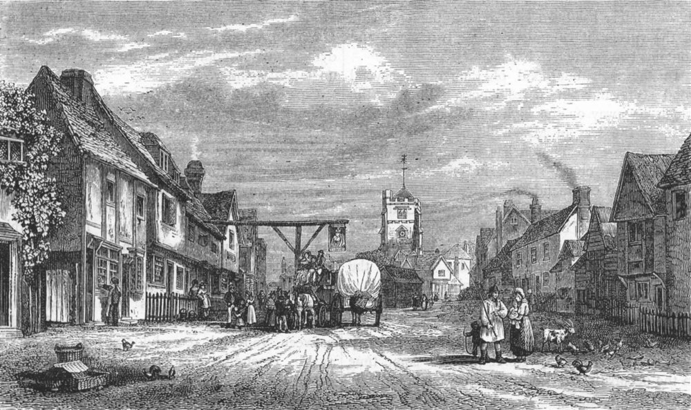 Associate Product PINNER. Pinner, in 1828 (from an etching by Cook) 1888 old antique print