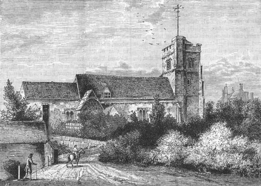 Associate Product PINNER. Pinner Church in 1800 (from an old print) 1888 antique