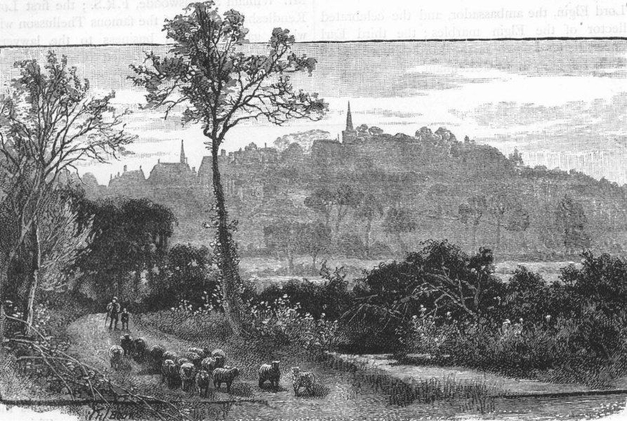 HARROW WEALD. Distant view of Harrow 1888 old antique vintage print picture