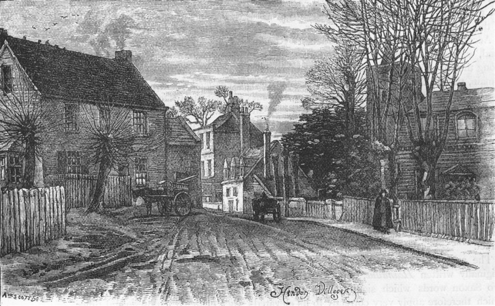 Associate Product HENDON. Hendon Village 1888 old antique vintage print picture