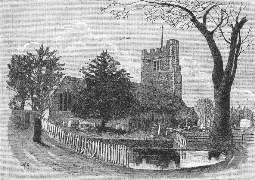 Associate Product HERTFORDSHIRE. Bushey Church 1888 old antique vintage print picture
