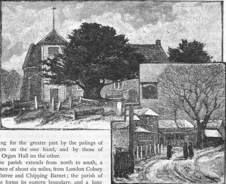 Associate Product HERTFORDSHIRE. Shenley Church and Village 1888 old antique print picture