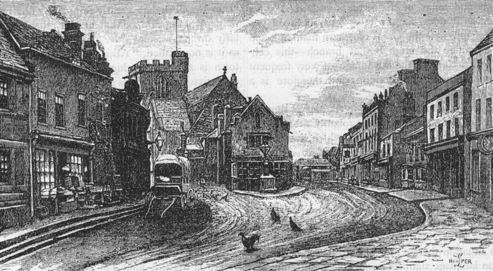 Associate Product HIGH BARNET. High street, High Barnet 1888 old antique vintage print picture