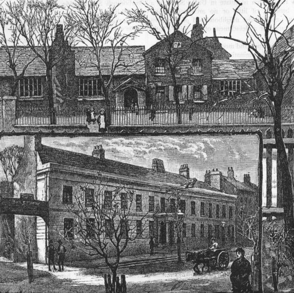 """Associate Product HIGH BARNET. Views in Barnet. the Schools ; the """" Red Lion"""" Inn 1888 old print"""