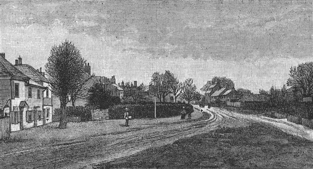 Associate Product HIGH BARNET. Hadley Green (Site of the Battle of Barnet) 1888 old print