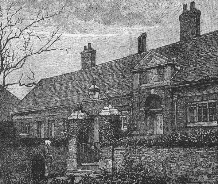 Associate Product LONDON. Alms Houses, Friern Barnet 1888 old antique vintage print picture