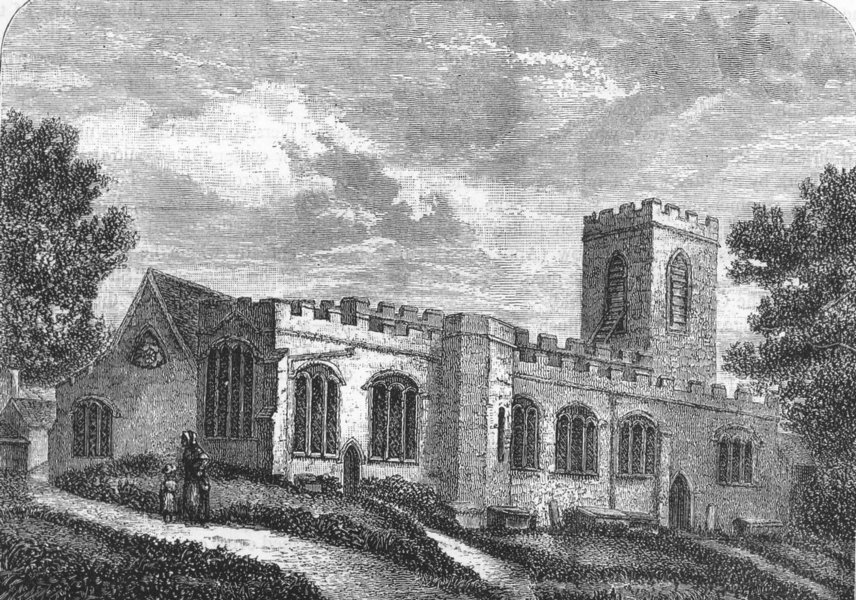 Associate Product MIDDLESEX. Enfield Church (from an old print, 1827) 1888 antique
