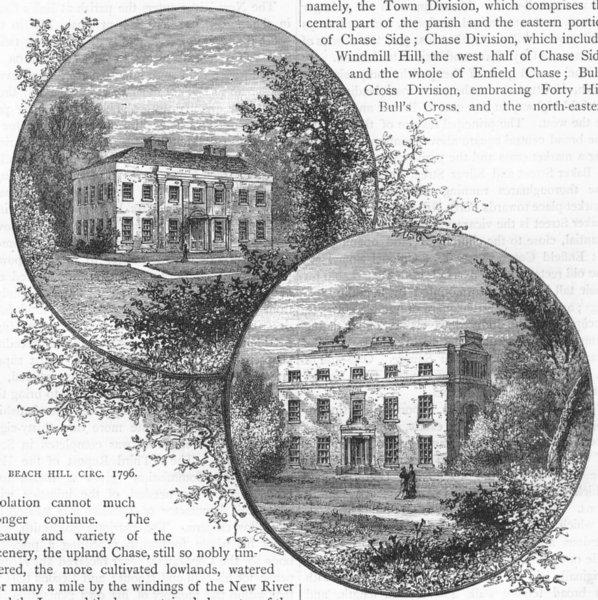 Associate Product ENFIELD. Beach Hill circ. 1796; Myddelton House circ. 1821. Middlesex 1888