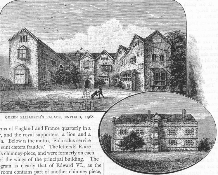 Associate Product ENFIELD. Queen Elizabeth's Palace, 1568; from the North. Middlesex 1888 print
