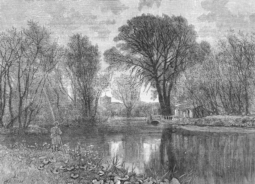 Associate Product ENFIELD & WALTHAM. On the Lea. Middlesex 1888 old antique print picture