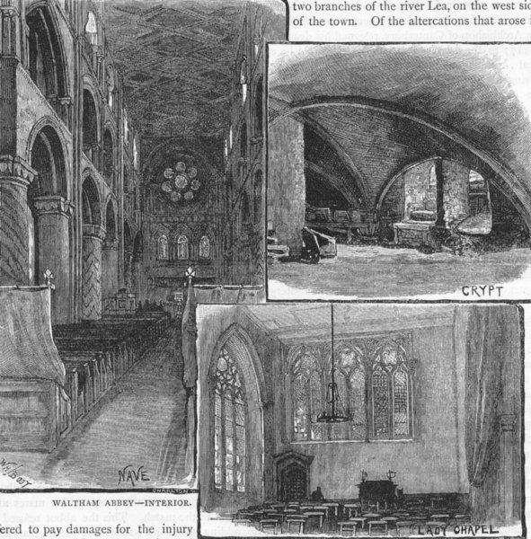 Associate Product WALTHAM ABBEY. Interior. Nave, Crypt, Lady Chapel. Essex 1888 old print