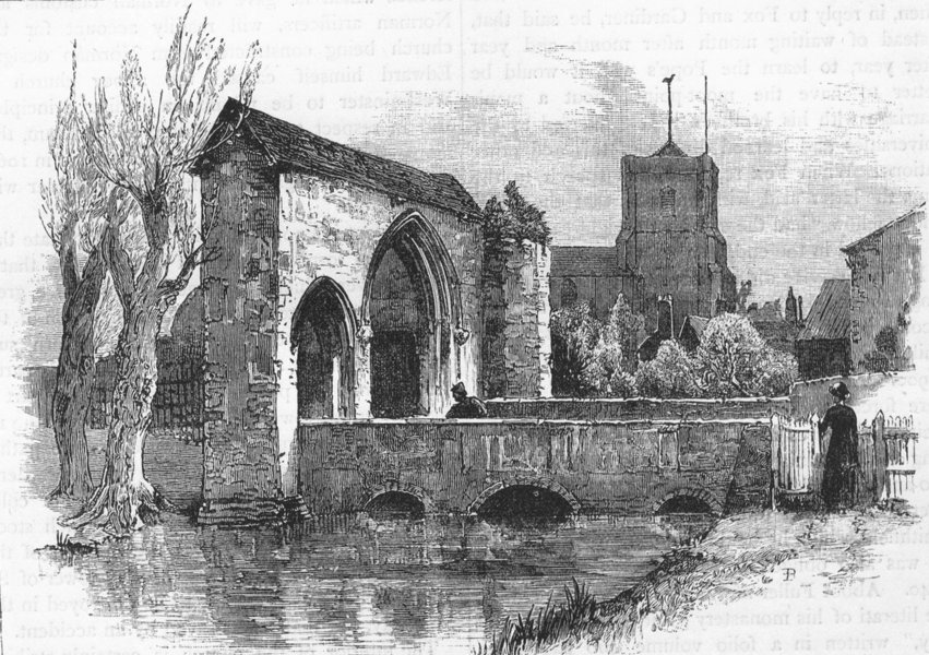 Associate Product WALTHAM ABBEY. Gateway and Bridge. Essex 1888 old antique print picture