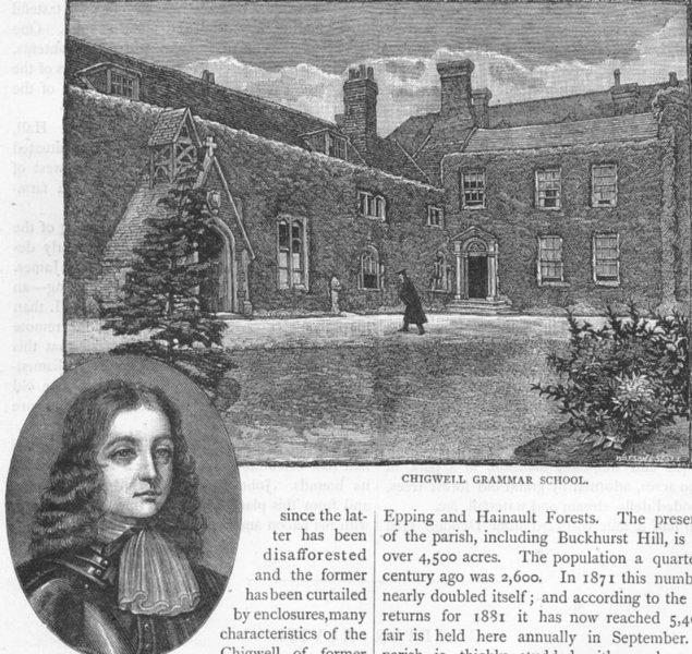 Associate Product CHIGWELL. Chigwell Grammar School; William Penn. Essex 1888 old antique print