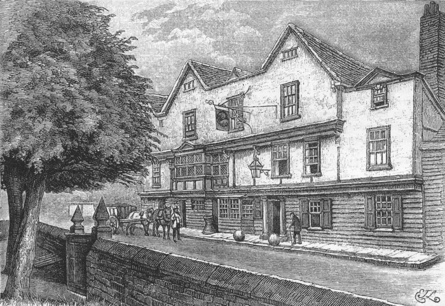 """Associate Product CHIGWELL. The """"King's Head,"""" Chigwell. Essex 1888 old antique print picture"""